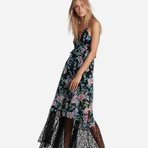 Express Floral Strappy Lace Up Maxi Dress